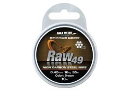 Savage Gear Raw49 7x7 Edelstahlvorfach Brown 10m 0,45mm